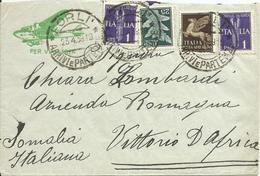 VE3Cb197-Lettera Posta Aerea Per Vittorio D'Africa Con 25+50 Cent E 2x 1 £ Allegorici 23.4.1939 - 1900-44 Vittorio Emanuele III