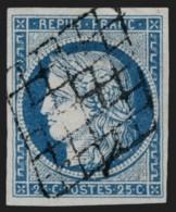 N°4, Cérès 1849, 25c Bleu, Oblitéré Grille Noire - TB - 1849-1850 Ceres