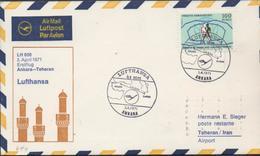 3366  Carta Ankara 1971,  1º Vuelo , Lufthansa, ((Ankara- Teheran-Iran ) Aeropuerto - 1921-... Republic