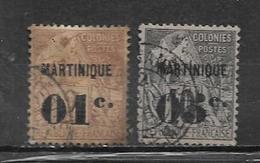 Colonie Martinique Timbres De 1888/91  N°7 + 10  Oblitérés Cote 88,25€ - Martinica (1886-1947)