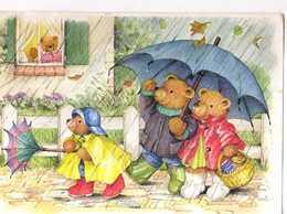Ilona HERTZBERGER  Oursons Sous La Pluie, Parapluie, Panier - Künstlerkarten