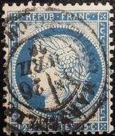 FRANCE Y&T N°60C Cérès 25c Bleu. Oblitéré Marseille - 1871-1875 Cérès