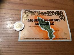 Etiquette «LIQUEUR D'ORANGE AU COGNAC - VIDEAU PÈRE ET FILS - ST-PIERRE D'OLERON (17)» (carte île D'Oleron) - Etiquettes