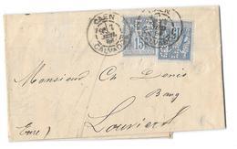 CALVADOS ( 13 ) « CAEN » L.I. 2ème Ech. - 15/30g.-  Tarif à 30c. (1.5.1878/15.4.1906) N°90 Type IID Etat 1 X 2 -  15c. - Marcophilie (Lettres)