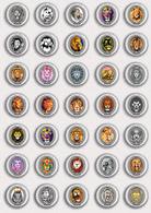 35 X Lion Fan ART BADGE BUTTON PIN SET 3 (1inch/25mm Diameter) - Animals