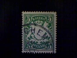 Germany (Bavaria), Scott #62, Used (o), 1900, Coat Of Arms, 5pfs, Dark Green - Bavaria