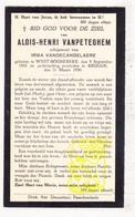 DP Aloïs H. VanPeteghem ° Westrozebeke Staden 1892 † Brugge 1930 X Irma VandeCandelaere - Images Religieuses