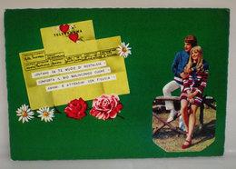 Coppia Innamorati Telegramma D'amore Cartolina 1974 - Couples