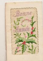 CARTE BRODEE  BONNE ANNEE A DECOR DE FLEURS - Nouvel An
