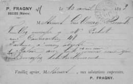 A-19-899 : CARTE PRECURSEUR DE DECIZE. ETABLISSEMENT FRAGNY . POSTEE EN 1893 - Decize