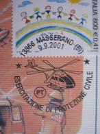 A.03 ITALIA ANNULLO - 2001 MASSERANO BIELLA ESERCITAZIONE DI PROTEZIONE CIVILE ELICOTTERO MAXIMUM - Elicotteri