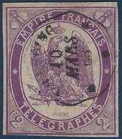 France Timbres Telegraphes N°4  2fr Violet Oblitéré Dateur Ondulé De Tourcoing TTB - Telegramas Y Teléfonos