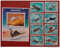 Rwanda 1978 - Aviation History Perf Values And Sheet Set Mi 952-959A MNH - Planes Aviators Planes - Rwanda