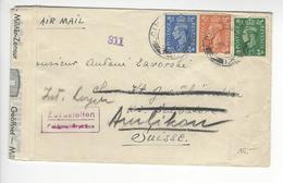 AMLIKON CENSURE CENSOR UNITED KINGDOM WW2 SUISSE INTERNES CAMP INTERNEMENT /FREE SHIP. R - Storia Postale