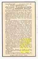DP Jeroom VandeVyvere ° Westrozebeke Staden 1890 † 1934 X Elisabeth Crevits - Images Religieuses