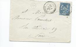 N° YT 90 Sur Lettre De Marcilly Sur Seine Marne Pour Paris 1879 - Marcophilie (Lettres)
