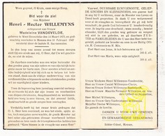 DP Henri H. Willemyns ° Westrozebeke Staden 1875 † Mesen 1947 X Madelein VandeVelde / Clarys Baekelandt Fernagut - Images Religieuses