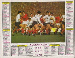 CALENDRIER ALMANACH DES PTT 1972 RUGBY FRANCE GALLES EQUITATION JUMPING - Calendriers