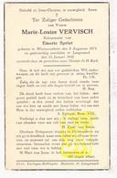 DP Marie L. Vervisch ° Westrozebeke Staden 1873 † Langemark 1942 X Emeric Spriet - Images Religieuses