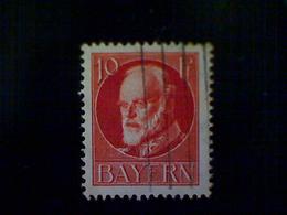 Germany (Bavaria), Scott #98, Used (o), 1914, King Ludwig III, 10pfs, Vermillion - Bavaria