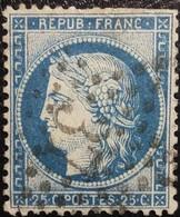 FRANCE Y&T N°60C Cérès 25c Bleu. Oblitéré étoile De Paris N°37 - 1871-1875 Cérès