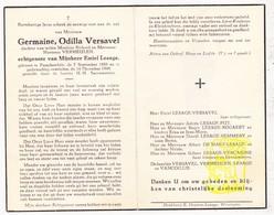 DP Germaine Versavel / Vermeulen ° Passendale 1888 † 1949 X E. Lesage / Put Bogaert Remmery De Maet VanCoillie Vercaigne - Images Religieuses