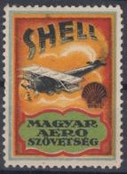 SHELL Fuel - Airplane Biplane Aircraft  Hungary 1930's Hungarian Aeronautical Association LABEL CINDERELLA VIGNETTE MNH - Oil