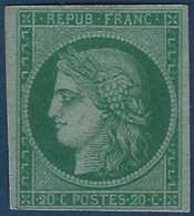 FRANCE 1849 Essai Sur Papier Carton 20c Vert Superbe !! - 1849-1850 Ceres