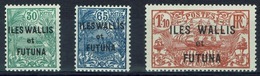 Wallis And Futuna, Definitives, New Caledonia Overprint, 1927, MH VF  Set Of 3 - Unused Stamps
