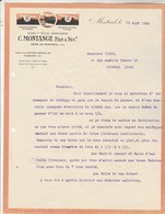 Facture Lettre Illustrée 23/8/1928 MONTANGE Tournerie Articles En Corne MONTREAL Ain - France