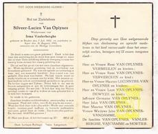 DP Silveer L. Van Oplynes ° Staden 1882 † Ieper 1942 X I. VanLerberghe / Vermeulen Ververcken VanDamme Mortier DeWyze - Images Religieuses