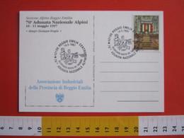 A.03 ITALIA - 1997 REGGIO EMILIA BICENTENARIO TRICOLORE BANDIERA FLAG 70^ ADUNATA ALPINA ANA ALPINI 1797 CARD UMORISTICA - Francobolli