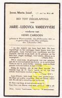 DP Marie L. VandeVyvere ° Westrozebeke Staden 1861 † 1943 X H. Cardoen - Images Religieuses