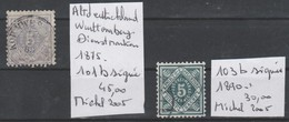 TIMBRES D ALLEMAGNE NEUF** LUXE (WURTTTEMBERG)(DIENSTMARKEN) 1875  Nr 101b+103b SIGNEES   COTE   75 € - Wurtemberg