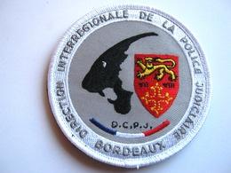 ECUSSON TISSUS PATCH POLICE NATIONALE DCPJ / DIPJ DE BORDEAUX  ETAT EXCELLENT SUR VELCROS - Police & Gendarmerie