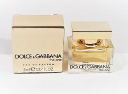 Miniatures De Parfum  DOLCE & GABBANA THE ONE  EDP   5 Ml  + BOITE SÉRIGRAPHIE NOIRE - Miniatures Modernes (à Partir De 1961)