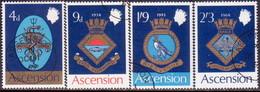 1969 ASCENSION SG #121-24 Compl.set Used Royal Naval Crests (1st Series) - Ascension (Ile De L')