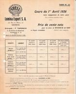 SUISSE GENEVE TARIF 1926 Produits SHELL Pétrole Essence LUMINA EXPORT Taponier St Julien En Genevois Gex  X3 ( Coquille - Suisse