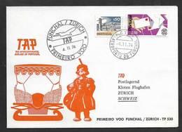 Portugal Premier Vol TAP Funchal Madère Zurich Suisse 1974 First Flight Madeira Switzerland - Poste Aérienne