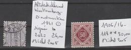 TIMBRES D ALLEMAGNE NEUF** / OBLI  (WURTTTEMBERG)(DIENSTMARKEN) 1881-1906/16   Nr 118**-202 B  SIGNEE   COTE   56 € - Wurtemberg