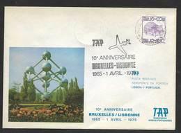 Portugal 10 Ans Premier Vol TAP Lisbonne Lisboa Bruxelles Belgique 1975 First Flight 10 Years Lisbon Brussels Atomium - Poste Aérienne