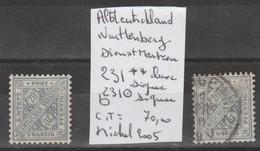 TIMBRES D ALLEMAGNE NEUF** / OBLI  (WURTTTEMBERG)(DIENSTMARKEN)  Nr 231**-231 OBLITEREE SIGNEES   COTE   70 € - Wurtemberg