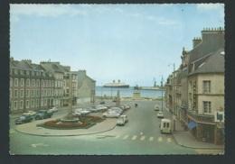 Cherbourg - Place De La République Statue Napoléon Et L'arrivée Du Queen Elisabeth Carte Grand Format LWK16 - Cherbourg