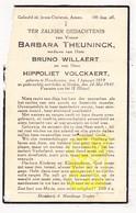 DP Barbara Theuninck ° Handzame Kortemark 1859 † Staden 1941 X B. Willaert Xx H. Volckaert - Images Religieuses