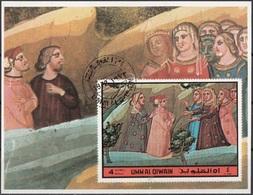 Umm Al Qiwain 1972 Dante Beatrice Divina Commedia Paradiso Miniatura Illustrazione Fg. 1 Imperf. Sheet CTO - Umm Al-Qiwain
