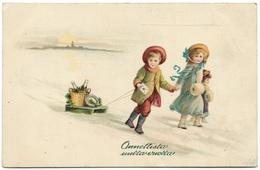 Onnelista Utta Vuotta 1914 - Happy New Year - Finland - Children Enfants Sled Wine - Hermann Wolff - New Year