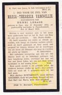 DP Maria Th. VanCoillie ° Ieper 1851 † Passendale Zonnebeke 1925 X Henri Lesage - Images Religieuses