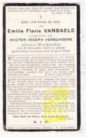DP Emilie F. VanDaele ° Westrozebeke Staden 1875 † 1920 X Hector J. Verschoore - Images Religieuses
