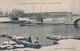 95) BEAUMONT-SUR-OISE Sous La Neige : Un Garage De Bateaux (1916) - Beaumont Sur Oise