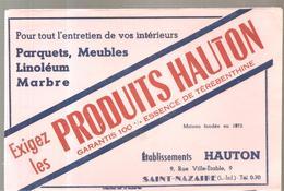 Buvard Etablissements HAUTON (Parquets, Meubles, Linoléum) 9, Rue Ville-Etable à Saint Nazaire (Loire Inférieure) - Buvards, Protège-cahiers Illustrés